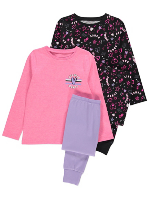 Pink and Black Sparkle Dance Slogan Pyjamas 2 Pack
