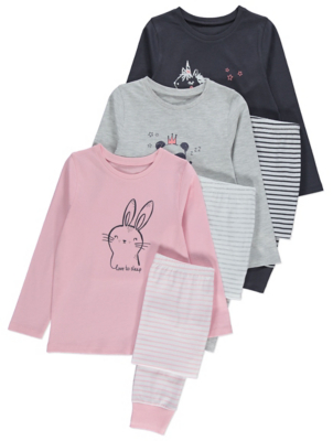 Pink Grey and Black Animal Print Pyjamas 3 Pack