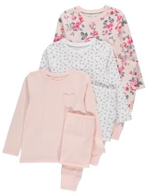 Pink Floral Pyjamas 3 Pack