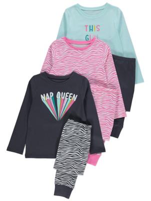 Zebra Print Slogan Pyjamas 3 Pack