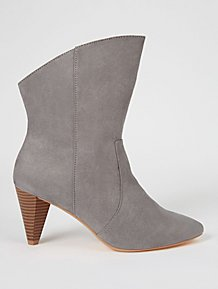 4d421ab5aa6 Grey Suede Effect Cone Heel Western Ankle Boots