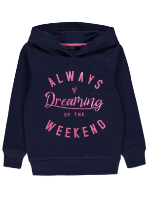 Navy Glitter Weekend Slogan Hoodie