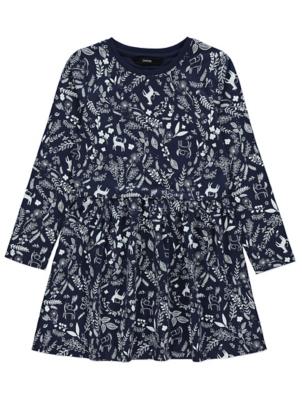 Navy Woodland Print Long Sleeve Dress