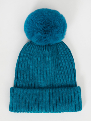 Teal Faux Fur Pom Pom Bobble Hat