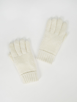 Thinsulate Cream Shimmer Waffle Gloves