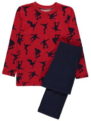 Red Skater Print Long Sleeve Pyjamas