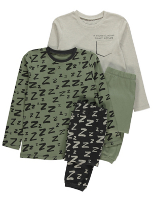 Khaki Long Sleeve Z Print Pyjamas 2 Pack