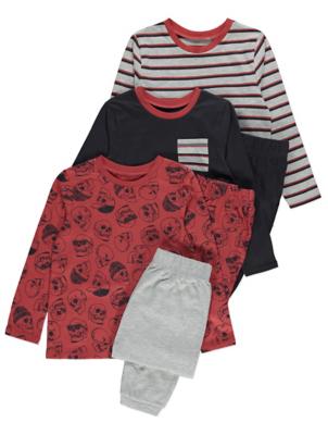 Red Striped Skull Print Long Sleeve Pyjamas 3 Pack