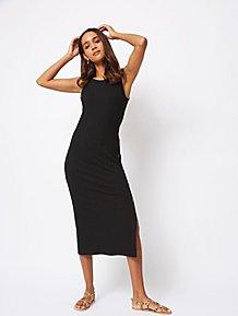 1c277af7092 Black Ribbed Jersey Midi Dress