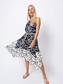db179ab6f87d Navy Rope Print High Neck Hanky Hem Midi Dress