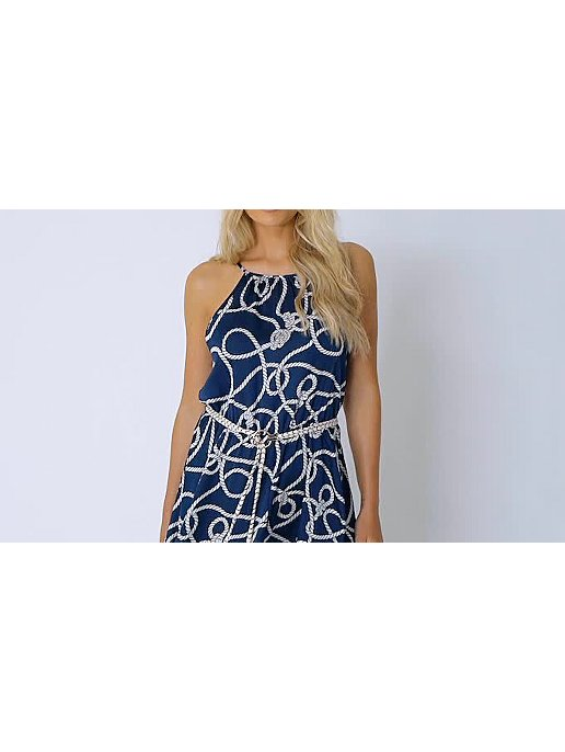 91ba6093141 Navy Rope Print High Neck Hanky Hem Midi Dress