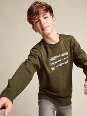 Khaki The Future is Now Slogan Sweatshirt