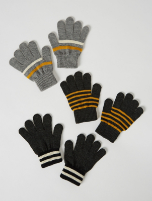 Grey and Mustard Yellow Striped Gloves 3 Pack