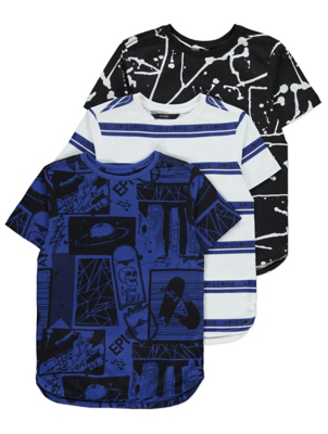 Blue Comic Print T-Shirts 3 Pack
