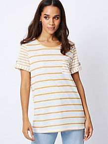 6d72906f9ba4 Yellow Striped Linen Look Top