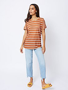 6a3b55e7ea69 Burnt Orange Striped Linen Look Top