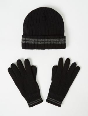Thinsulate Navy Marl Fleece Lined Beanie Hat and Gloves Set