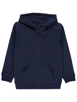 Navy Embroidered Heart Motif Hoodie