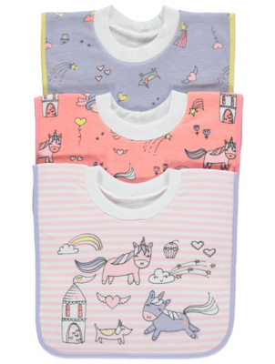 Pastel Unicorn Print Pop Over Bibs 3 Pack