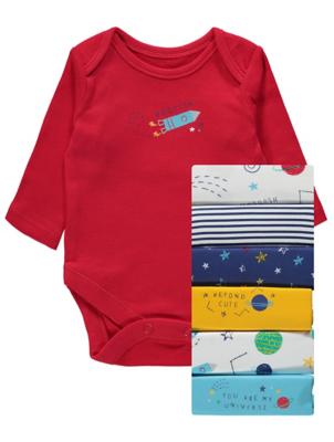 Planet Print Bodysuits 7 Pack