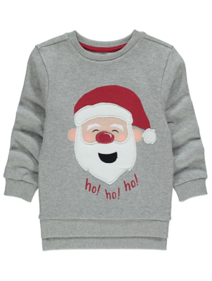 Grey Santa Claus Applique Christmas Sweatshirt