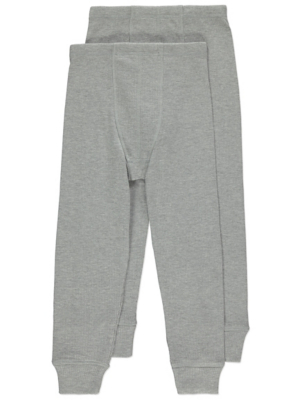 Grey Thermal Ribbed Long Johns 2 Pack