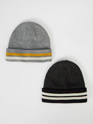 Grey Stripe Beanie Hats 2 Pack