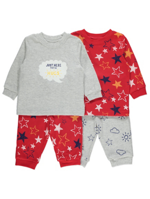 Red Star Print Slogan Long Sleeve Pyjamas