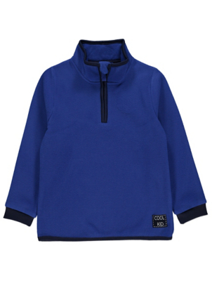 Blue Fleece High Neck Sweatshirt