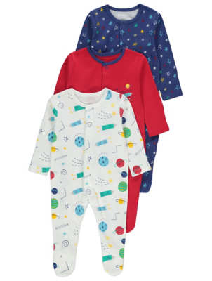 Outer Space Print Sleepsuits 3 Pack