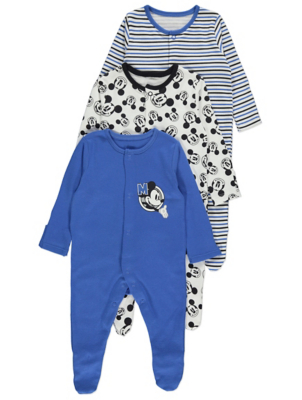 Disney Mickey Mouse Long Sleeve Sleepsuits 3 Pack