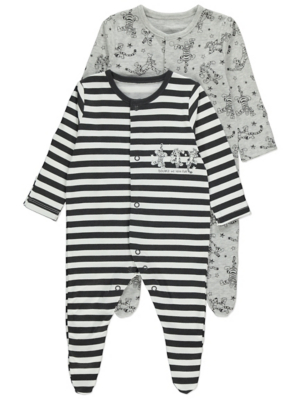 Disney Tigger 2 Pack Assorted Sleepsuits