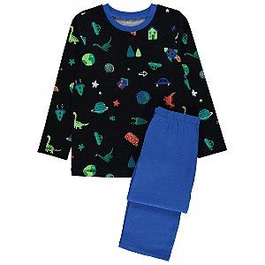 Black Jersey Space Print Pyjamas