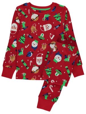 Red Christmas Print Pyjamas