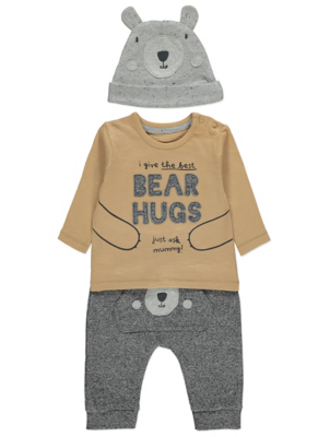 Grey Bear Hugs Slogan Top Jogging Bottoms and Hat Outfit