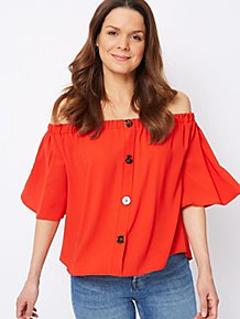 66c79ddb8a6c4 Red Woven Button Detail Bardot Top