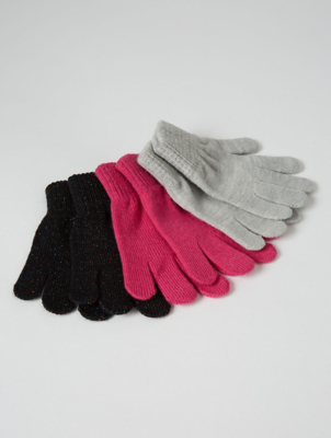 Pink Grey and Black Sparkly Gloves 3 Pack
