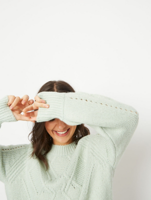 Mint Green Yoke Cable Detail Jumper