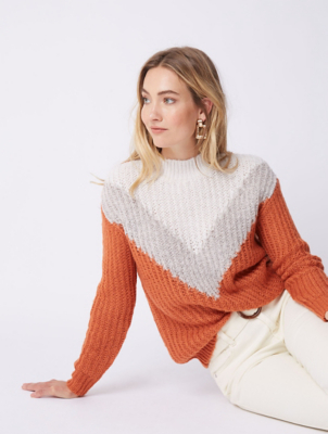 Burnt Orange Chevron Knitted Jumper