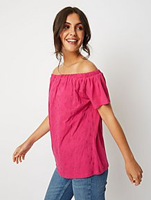 75ce7bece12ede Pink Embroidered Short Sleeve Bardot Top