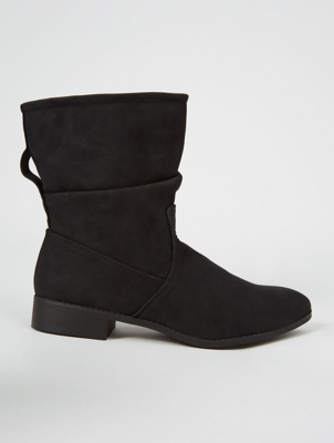 Black Slouch Low Heel Calf Rise Boots