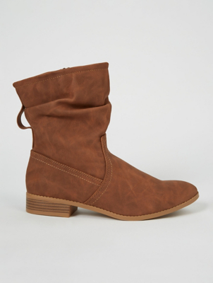 Tan Brown Slouch Low Heel Boot