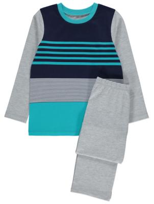 Blue and Grey Jersey Striped Pyjamas