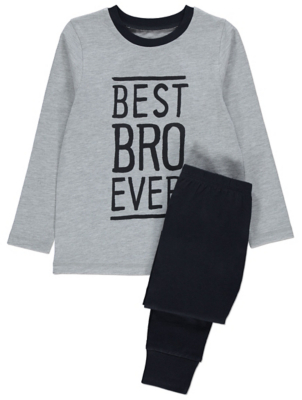 Grey Marl Best Bro Ever Slogan Jersey Pyjamas