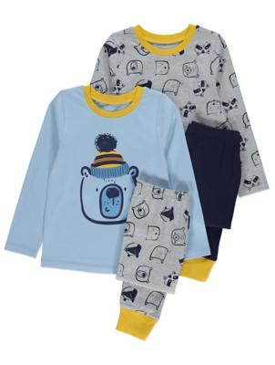 Blue and Grey Bear Pyjamas 2 Pack