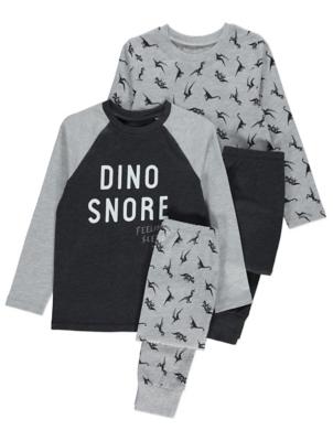 Grey and Black Dinosaur Pyjamas 2 Pack