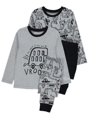Grey and Black Wheels on the Bus Pyjamas 2 Pack