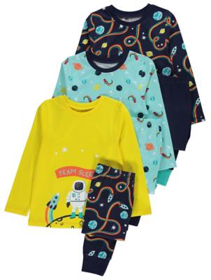 Colourful Space Print Pyjamas 3 Pack