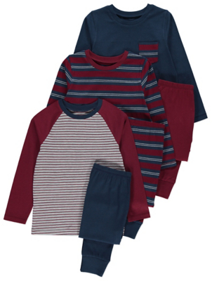 Red and Blue Striped Pyjamas 3 Pack