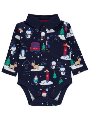 Navy Christmas Polo Shirt Bodysuit